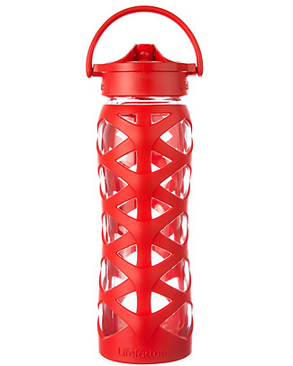 Lifefactory Borraccia in Vetro e Silicone con Cannuccia Axis, 650 ml - Charged Red Borracce Vetro
