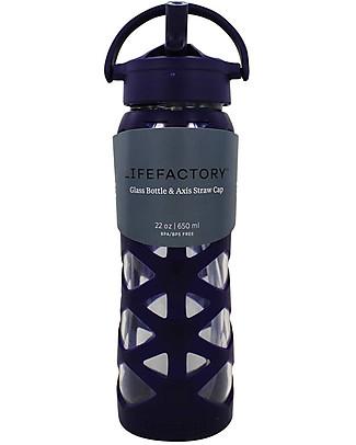 Lifefactory Borraccia in Vetro e Silicone con Cannuccia Axis, 650 ml - Melanzana Borracce Vetro