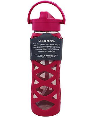 Lifefactory Borraccia in Vetro e Silicone con Cannuccia Axis, 650 ml - Rosa Guava Borracce Vetro