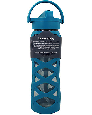 Lifefactory Borraccia in Vetro e Silicone con Cannuccia Axis, 650 ml - Ultramarino Borracce Vetro