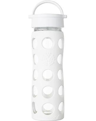 Lifefactory Borraccia in Vetro e Silicone con Classic Cap - 475ml - Bianco Borracce Vetro