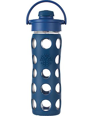 Lifefactory Borraccia in Vetro e Silicone con Flip Cap Apri e Chiudi - 475ml - Blu Notte (tappo apri e chiudi) Borracce Vetro