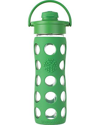 Lifefactory Borraccia in Vetro e Silicone con Flip Cap Apri e Chiudi - 475ml - Verde Bosco (tappo apri e chiudi) Borracce Vetro