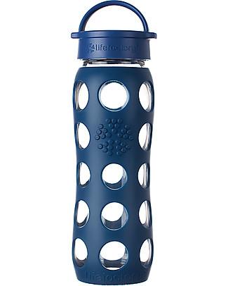 Lifefactory Borraccia in Vetro e Silicone con Tappo Ermetico 650ml - Blu Notte Borracce Vetro
