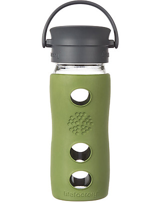 Lifefactory Borraccia Termica da Viaggio in Vetro con Guaina Esterna Isolante - 350 ml - Salvia null