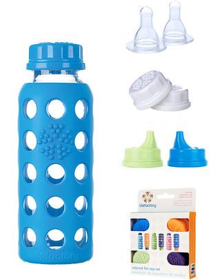 Lifefactory Bottiglia in Vetro e Silicone con Tappo Ermetico 250ml - Blu Mare Borracce Vetro