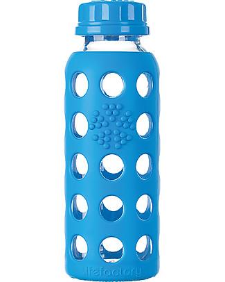 Lifefactory Bottiglia in Vetro e Silicone con Tappo Ermetico 250ml - Blu Mare Bottiglie Conservalatte