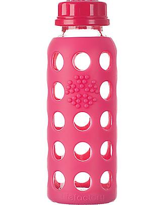 Lifefactory Bottiglia in Vetro e Silicone con Tappo Ermetico 250ml - Rosso Lampone Borracce Vetro
