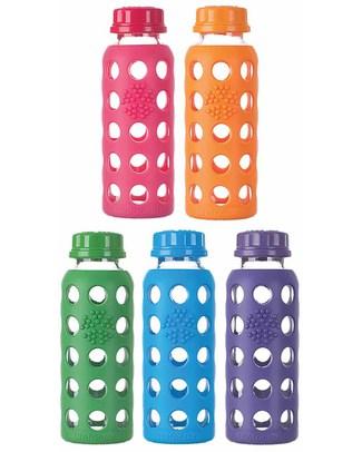 Lifefactory Bottiglia in Vetro e Silicone con Tappo Ermetico 250ml - Rosso Lampone Bottiglie Conservalatte