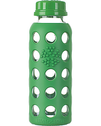 Lifefactory Bottiglia in Vetro e Silicone con Tappo Ermetico 250ml - Verde Bosco Bottiglie Conservalatte