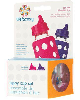 Lifefactory Sippy Cap Set da 2 Beccucci Bevimpara -Fucsia/Viola (Per biberon Lifefactory) -  Biberon In Vetro