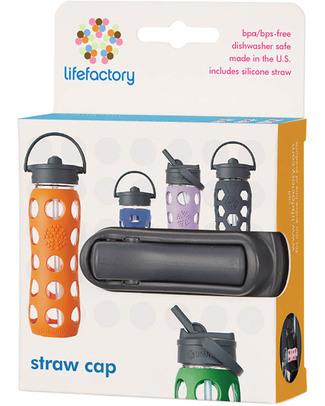 Lifefactory Tappo Straw Cap - Cannuccia - Nero Bottiglie Conservalatte