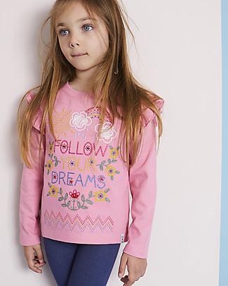 Lilly+Sid Maglia a Maniche Lunghe con Balze, Follow your Dreams - 100% Cotone bio Maglie Manica Lunga