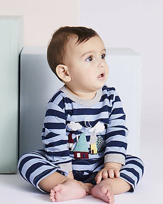 Lilly+Sid Tutina Baby con Maniche Lunghe, Applique Orso - 100% Cotone bio Tutine Lunghe Senza Piedi