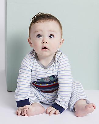 Lilly+Sid Tutina Baby con Maniche Lunghe, Applique Ufo - 100% Cotone bio Tutine Lunghe Senza Piedi