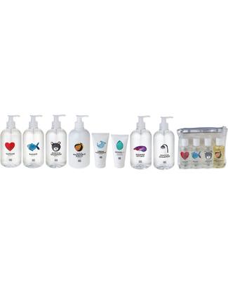 Linea Mamma Baby Pochette Trasparente con 4 Mini Prodotti da Viaggio (100ml)  Bagno Doccia Shampoo