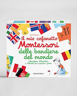 L'ippocampo Ragazzi Il Mio Cofanetto Montessori delle Bandiere del Mondo - 50 Bandierine Libri