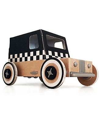 Litogami Autogami, Taxi in Cartone con Pannello Solare! Ecologico, si assembla in 2 minuti! Carta e Cartone