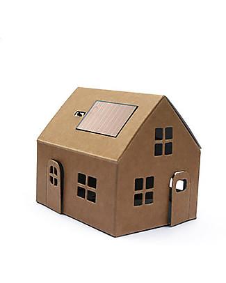 Litogami Casagami Kraft, Luce Notturna con Pannello Solare - Ecologica, si assembla in 2 minuti! Carta e Cartone