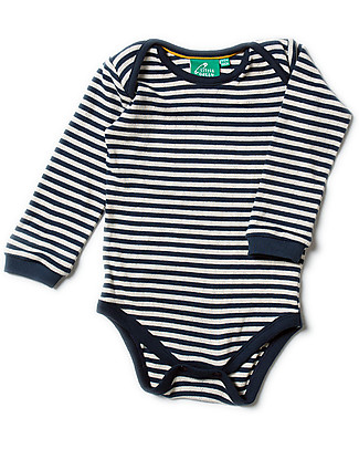 Little Green Radicals Body Pointelle Manica Lunga a Righe, Blu - 100% cotone bio null