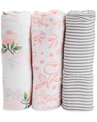 Little Unicorn 3 Pack Gift Set Classic Swaddle Blanket - Rose - 100% Cotton Muslin Swaddles