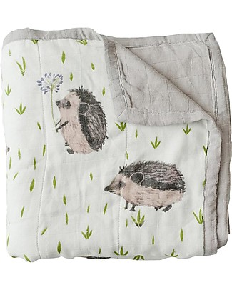 Little Unicorn Baby Quilt 120 x 120 cm, Deluxe - Hedgehog - 4 layers of 100% Bamboo Muslin Blankets