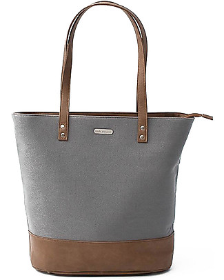 Little Unicorn Borsa Cambio in Ecopelle Broadwalk Tote, Grigio - Con materassino e ganci per passeggino Borse Cambio e Accessori