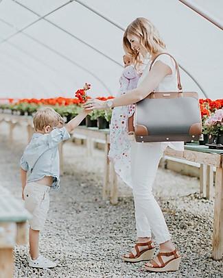 Little Unicorn Borsa Cambio in Ecopelle Manifest Weekender, Grigio - Con materassino e ganci per passeggino Borse Tracolla