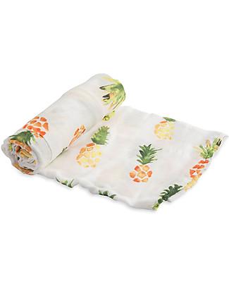 Little Unicorn Deluxe Swaddle Blanket 120 x 120 cm, Pineapple - 100% bamboo muslin Swaddles