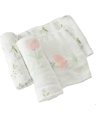 Little Unicorn Gift set of 2 Maxi Swaddles Deluxe 120 x 120 cm, Pink Peony - 100% muslin from bamboo Swaddles