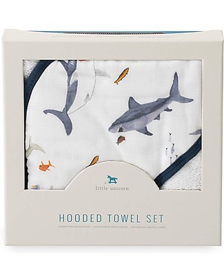 Little Unicorn Hooded Towel & Wash Cloth - Shark - Terry Cotton Muslin Towels And Flannels