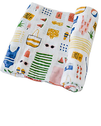 Little Unicorn Maxi Coperta Swaddle Milleusi 120 x 120 cm, Beach Bag - 100% Mussola di Cotone Copertine Swaddles