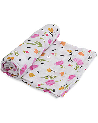 Little Unicorn Maxi Coperta Swaddle Milleusi 120 x 120 cm, Berry & Bloom - 100% Mussola di Cotone Copertine Swaddles