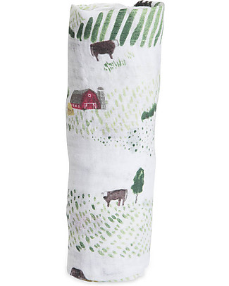Little Unicorn Maxi Coperta Swaddle Milleusi 120 x 120 cm, Countryside - 100% Mussola di Cotone Copertine Swaddles