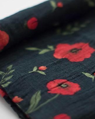 Little Unicorn Maxi Coperta Swaddle Milleusi 120 x 120 cm, Dark Summer Poppy - 100% Mussola di Cotone Copertine Swaddles