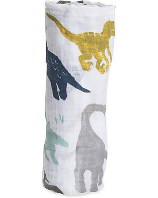 Little Unicorn Maxi Coperta Swaddle Milleusi 120 x 120 cm, Dino Friends - 100% Mussola di Cotone Copertine Swaddles