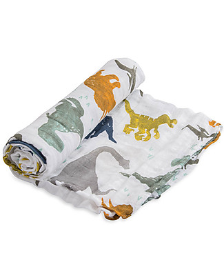 Little Unicorn Maxi Coperta Swaddle Milleusi 120 x 120 cm, Dino Friends - 100% Mussola di Cotone Copertine Swaddles