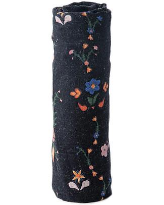 Little Unicorn Maxi Coperta Swaddle Milleusi 120 x 120 cm, Floral Stitch - 100% Mussola di Cotone Copertine Swaddles