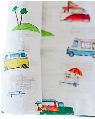 Little Unicorn Maxi Coperta Swaddle Milleusi 120 x 120 cm, Food Truck - 100% Mussola di Cotone Copertine Swaddles