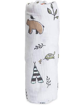 Little Unicorn Maxi Coperta Swaddle Milleusi 120 x 120 cm, Forest Friends - 100% Mussola di Cotone Copertine Swaddles