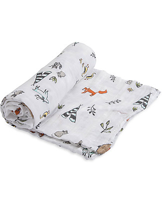 Little Unicorn Maxi Coperta Swaddle Milleusi 120 x 120 cm, Forest Friends - 100% Mussola di Cotone Copertine Swaddles