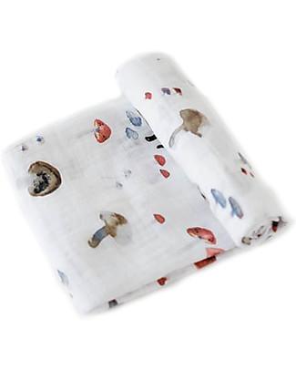 Little Unicorn Maxi Coperta Swaddle Milleusi 120 x 120 cm, Funghetti - 100% Mussola di Cotone Copertine Swaddles