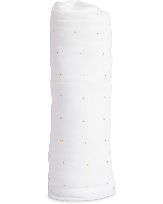 Little Unicorn Maxi Coperta Swaddle Milleusi 120 x 120 cm, Gold Dot - 100% Mussola di Cotone Copertine Swaddles
