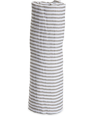 Little Unicorn Maxi Coperta Swaddle Milleusi 120 x 120 cm, Grey Stripe - 100% Mussola di Cotone Copertine Swaddles