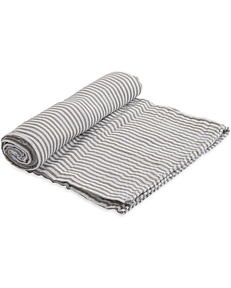 Little Unicorn Maxi Coperta Swaddle Milleusi 120 x 120 cm, Grey Stripe - 100% Mussola di Cotone Copertine Swaddles