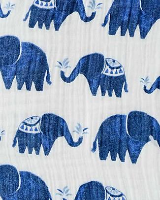 Little Unicorn Maxi Coperta Swaddle Milleusi 120 x 120 cm, Indie Elephant - 100% Mussola di Cotone Copertine Swaddles