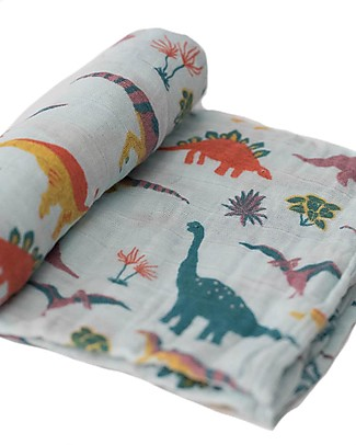 Little Unicorn Maxi Coperta Swaddle Milleusi 120 x 120 cm, Jurassic World Embroidosaurus - 100% Mussola di Cotone Copertine Swaddles