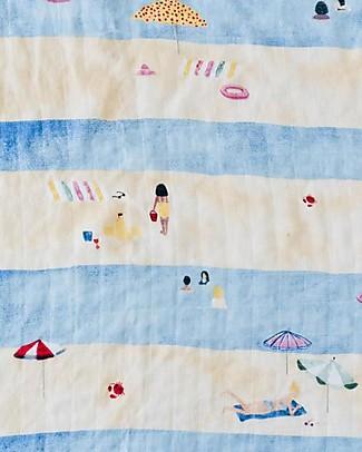 Little Unicorn Maxi Coperta Swaddle Milleusi 120 x 120 cm, Spiaggia - 100% Mussola di Cotone Copertine Swaddles