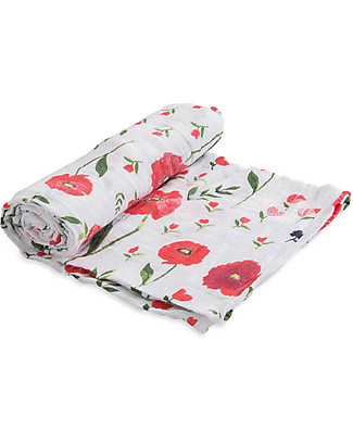 Little Unicorn Maxi Coperta Swaddle Milleusi 120 x 120 cm, Summer Poppy - 100% Mussola di Cotone Copertine Swaddles
