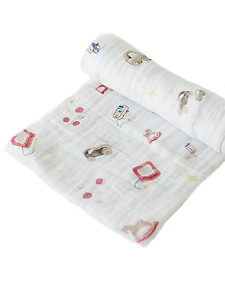 Little Unicorn Maxi Coperta Swaddle Milleusi 120 x 120 cm, Toy Box - 100% Mussola di Cotone Copertine Swaddles